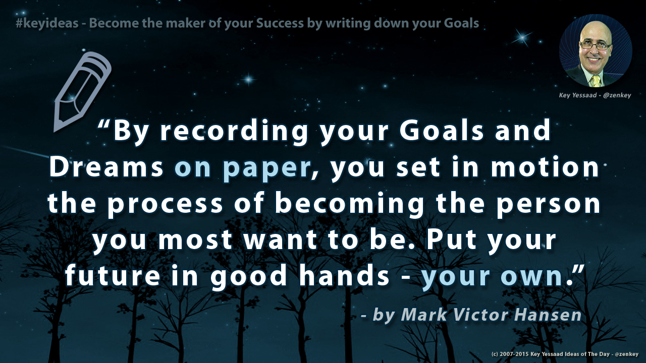 Become the maker of your Success by writing down your Goals