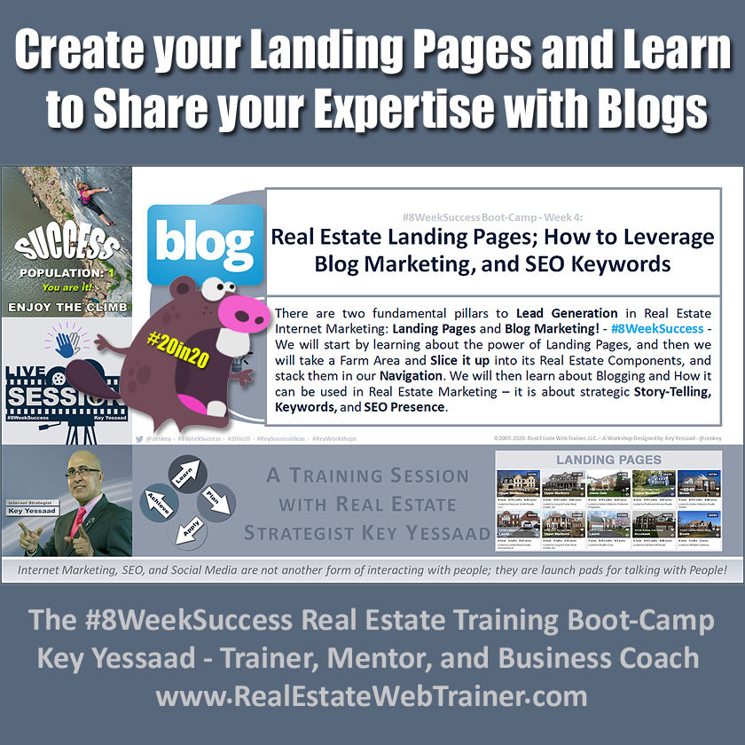 Create your Landing Pages and Learn to Share your Expertise with Blogs - Week 4 Feb 2020 - #8WeekSuccess