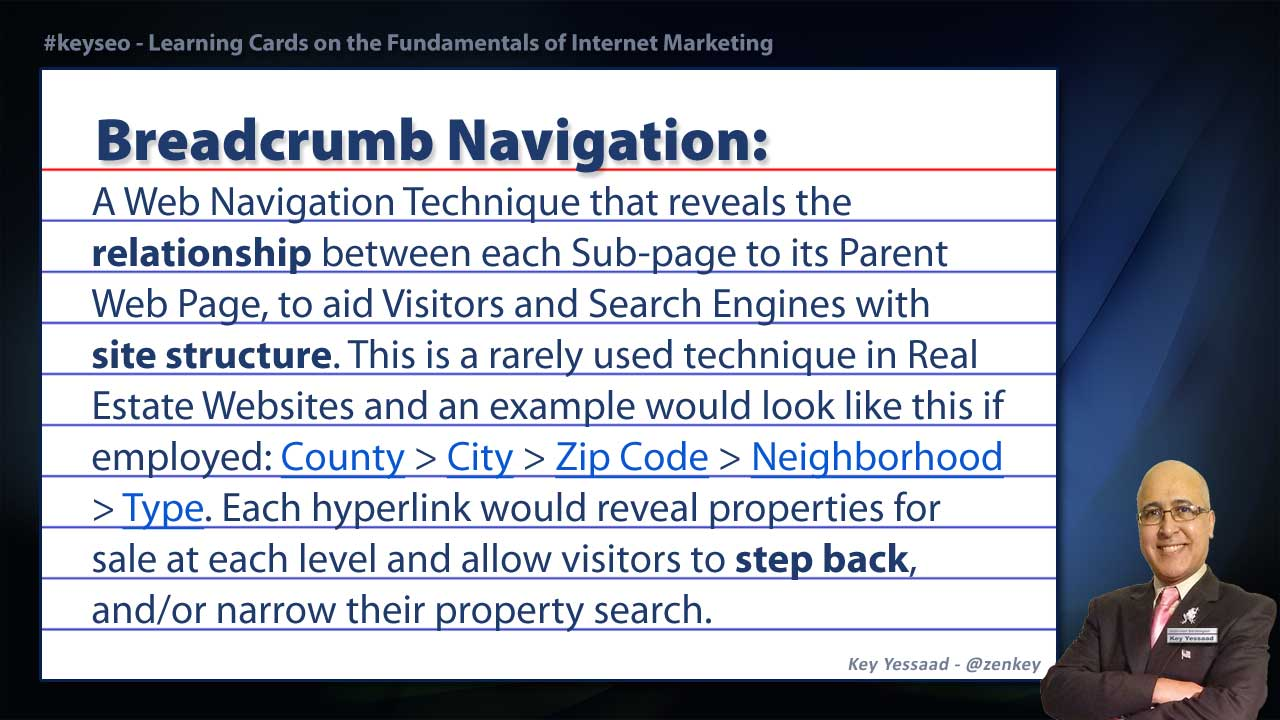 Breadcrumb Navigation - Real Estate SEO Short Definition